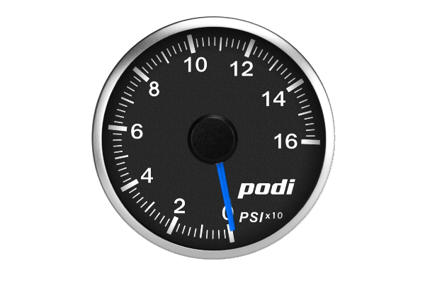 "Podi Electronic Stepper Motor Oil Pressure Gauge  (Imperial units, ""True Blue"" Golf R needle)"