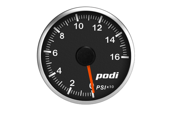 Podi Electronic Stepper Motor Oil Pressure Gauge  (Imperial units, red needle)