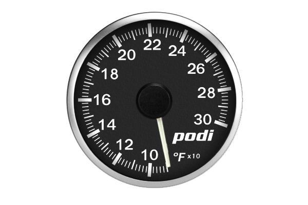 Podi Electronic Stepper Motor Oil Temperature Gauge (Imperial units, white needle)