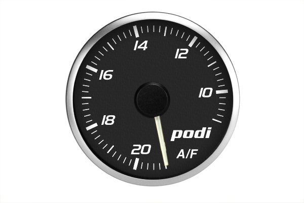 Podi Electronic Stepper Motor Air Fuel Ratio Gauge (AFR, white needle) *Limited Edition Subaru Color Match*