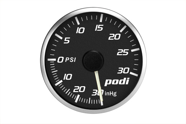 Podi Electronic Stepper Motor Boost Gauge (Imperial units, white needle) *Limited Edition Subaru Color Match*