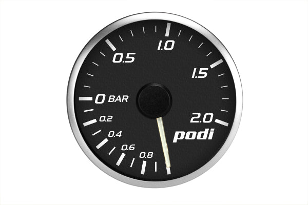 Podi Electronic Stepper Motor Boost Gauge (Metric units, white needle) *Limited Edition Subaru Color Match*