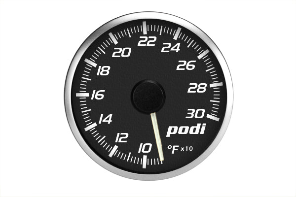 Podi Electronic Stepper Motor Oil Temperature Gauge (Imperial units, white needle) *Limited Edition Subaru Color Match*
