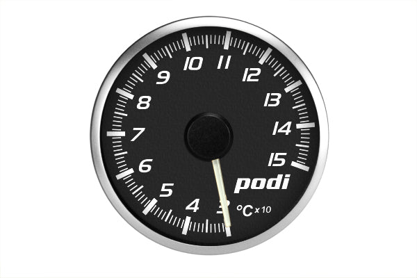 Podi Electronic Stepper Motor Oil Temperature Gauge (Metric units, white needle) *Limited Edition Subaru Color Match*