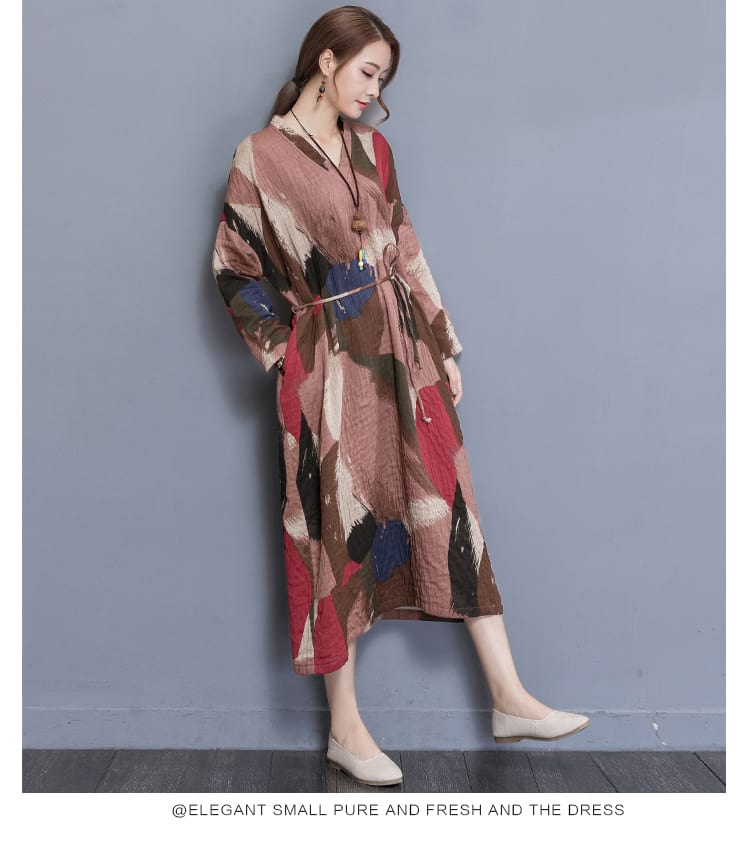 a21309fd81 women cotton linen long dress female maxi clothing tunic loose ...