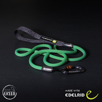 green climbing rope dog leash carabiner