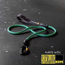 rock climbing rope dog leash carabiner green