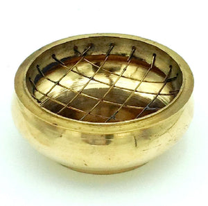 Charcoal Incense Burner - Brass with Screen