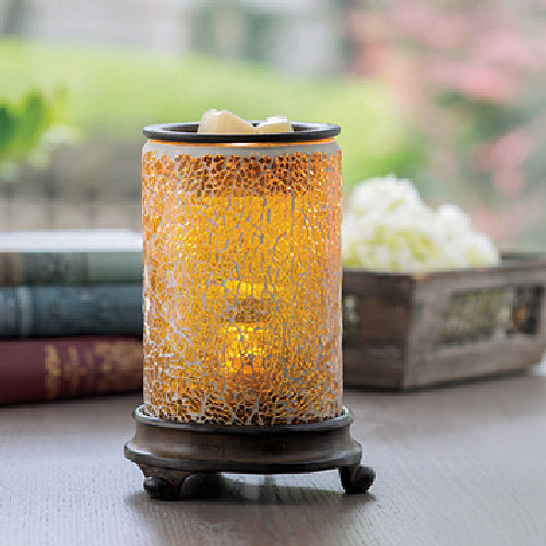 Crackled Amber Gold Glass Illumination Warmer