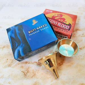 Incense Cone Pack with DHOOP Brass Cone Burner