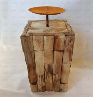 Rustic Wooden Pillar Candle Holder
