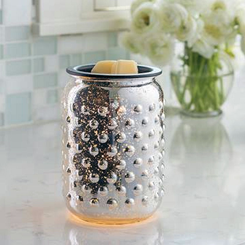Mercury Silver Glass Electric Candle Warmer