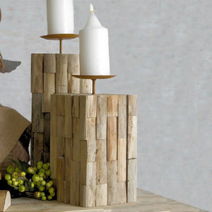 Rustic Wooden Single Candle Holder