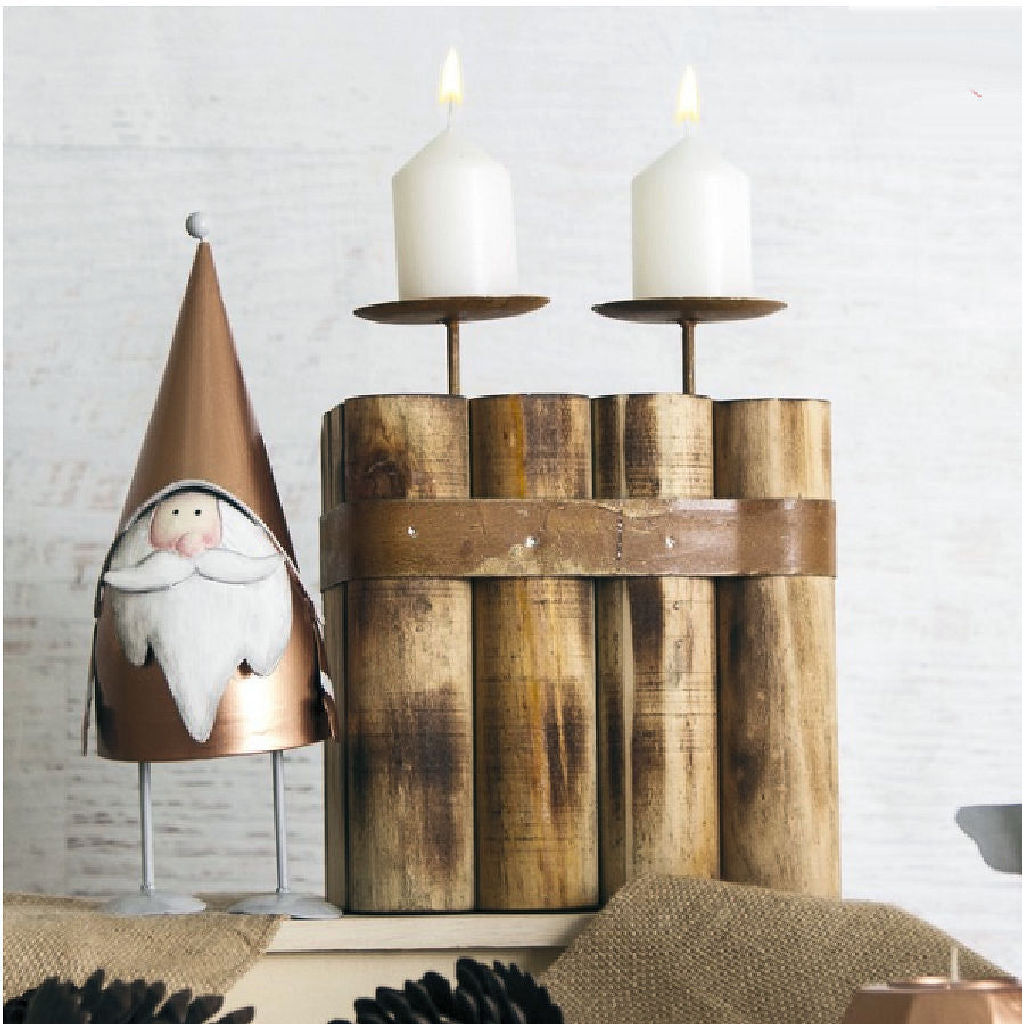 Rustic Wooden Double Candle Holder
