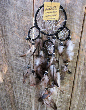 Dream Catcher Black, White & Brown Feather Finish