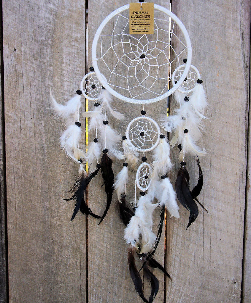 Dream Catcher White & Black Feather Finish