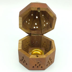 Incense Cone Wood Pyramid Holder