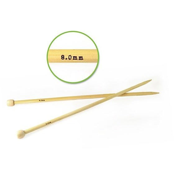 #11 (8mm) Bamboo Knitting Needles 35cm, 2/pk