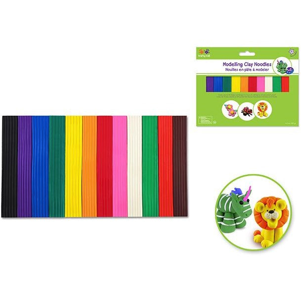 Modelling Clay Noodles Assorted 12 Colours, 185g/pk