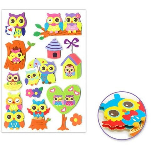 3D Handcrafted Chipboard Themed - Owl Frenzy
