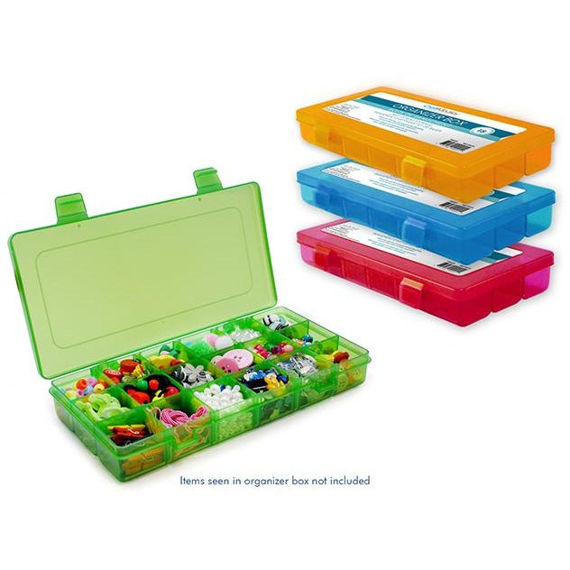 "Organizer Box with Snap Lid 18 Compartments-8.88""x4.25""x1.38"""