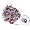 Barrel Pony Beads Viola and Silver Strips 100/pk