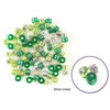 Barrel Pony Beads Green and Silver Strips 100/pk