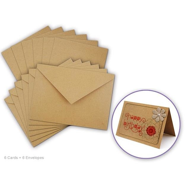 Card Making sets - Kraft Natural, 6 sets/pack