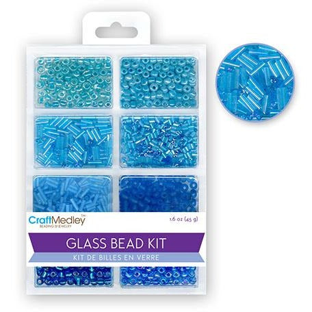 Glass Bead Kit: Rocailles/Seed Beads/Bugles - Blue, 45g/pack