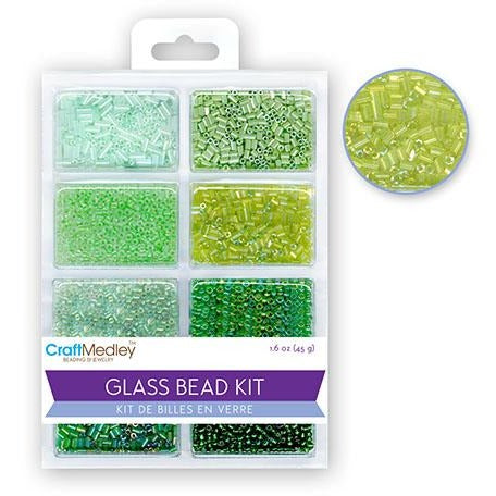 Glass Bead Kit: Rocailles/Seed Beads/Bugles - Green, 45g/pack