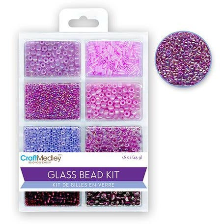 Glass Bead Kit: Rocailles/Seed Beads/Bugles - Viola, 45g/pack