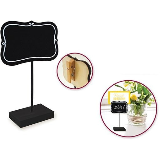Chalkboard Clip Sign Stand - Bracket with White Border
