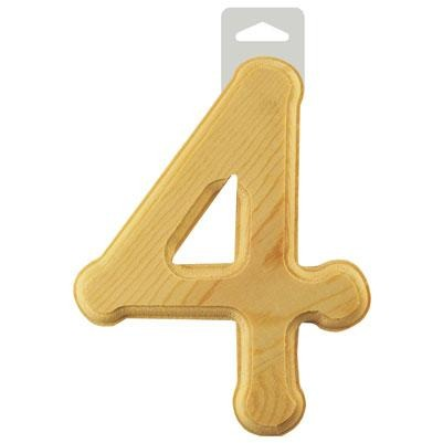 "Wood Numbers: 6"" Bevel Cut Natural - 4"