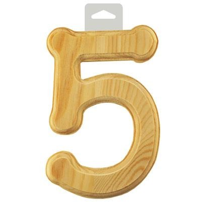 "Wood Numbers: 6"" Bevel Cut Natural - 5"