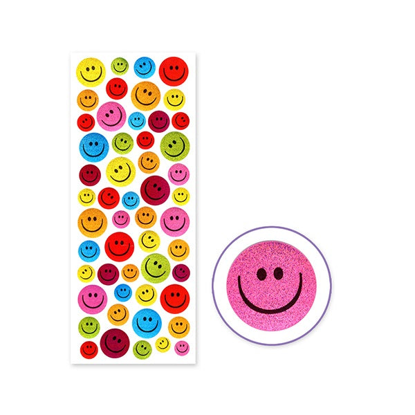 Glitter PVC Stickers - Smiley Faces