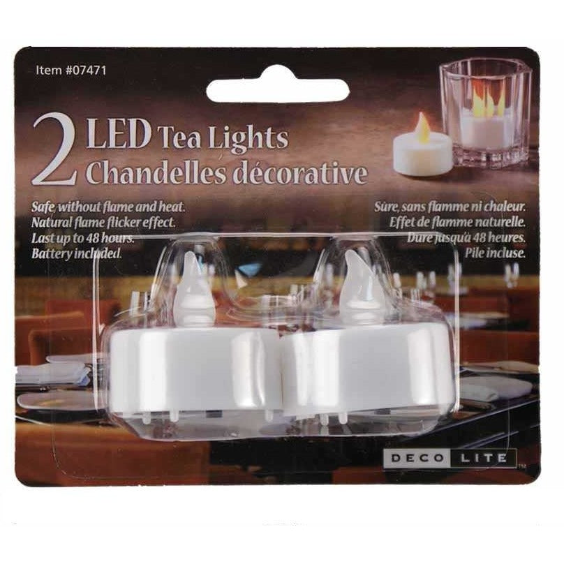 White LED Tea Lights, 2/pk