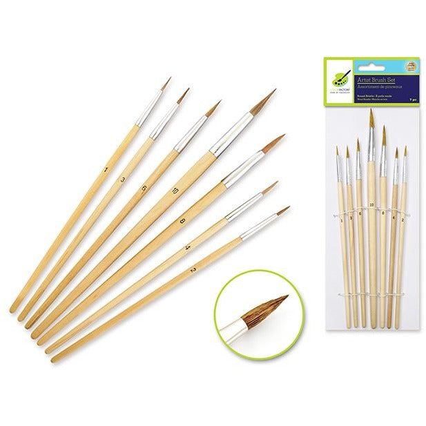 Artist Brush Set with Round Bristle and Wood Handle, 7/pk