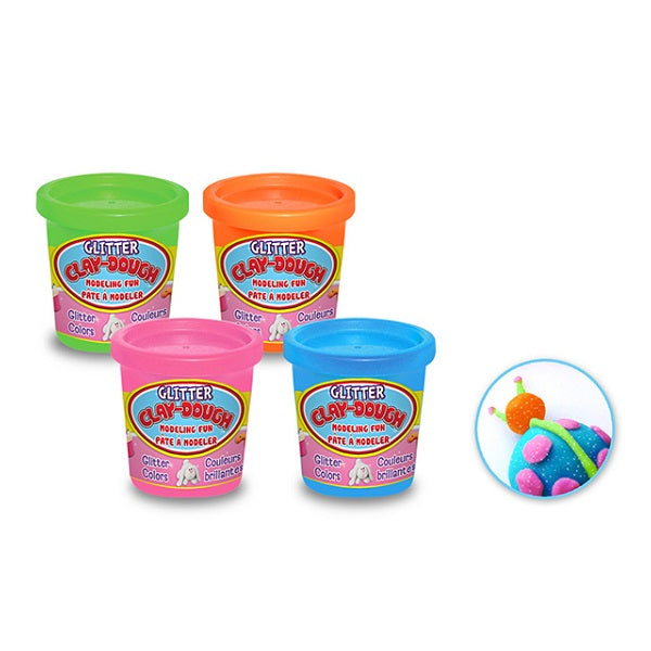Glitter Clay Dough 5oz with Tubs 4-Colours