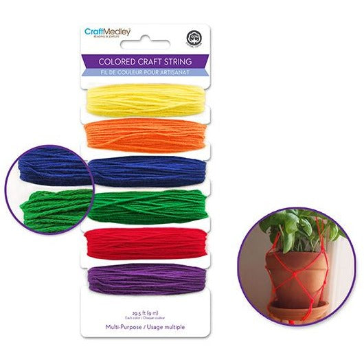 Multi-Purpose Colored Craft String  29.5ft - Brights, 6/pk