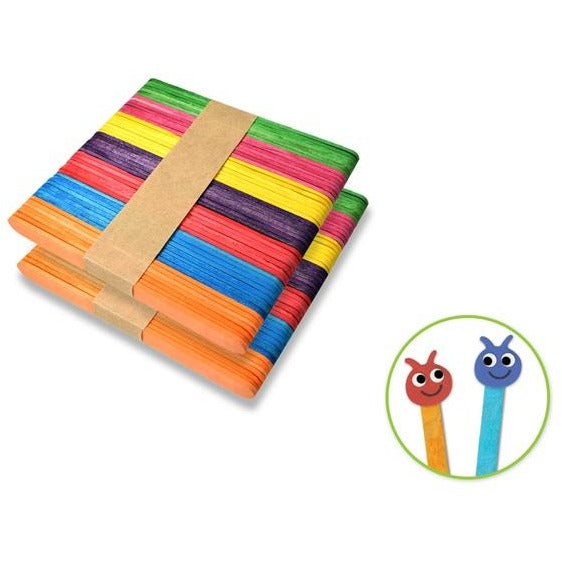 "Wood Craft Sticks 4.5""x 0.4"" Coloured, 100/pk"
