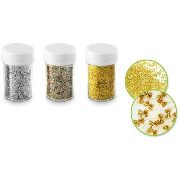 Glitter Shaker Jars with Screw-Tops Gold/Silver/Multi, 3/pk