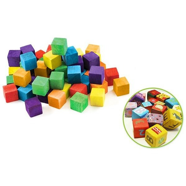 Wood Craft Cubes 0.63inx0.63inx0.63in Coloured, 36/pk