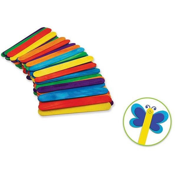 "Wood Craft Sticks Jumbo 6""x 0.75"" Coloured, 50/pk"