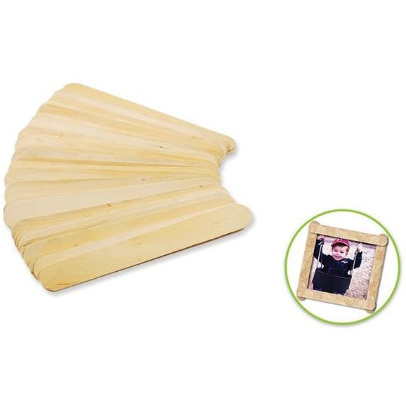 "Wood Craft Sticks Extra Jumbo 7.9""x 0.8"" Natural, 25/pk"