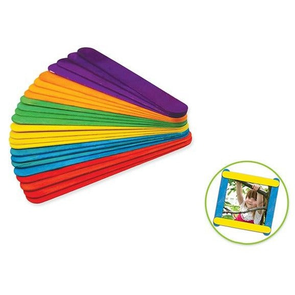 "Wood Craft Sticks Extra Jumbo 7.9""x 1"" Coloured, 24/pk"