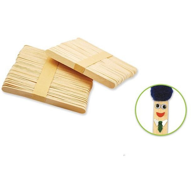 "Wood Craft Sticks 4.5""x 0.4"" Natural, 100/pk"
