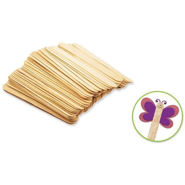 "Wood Craft Sticks Jumbo 6""x 0.75"" Natural, 50/pk"