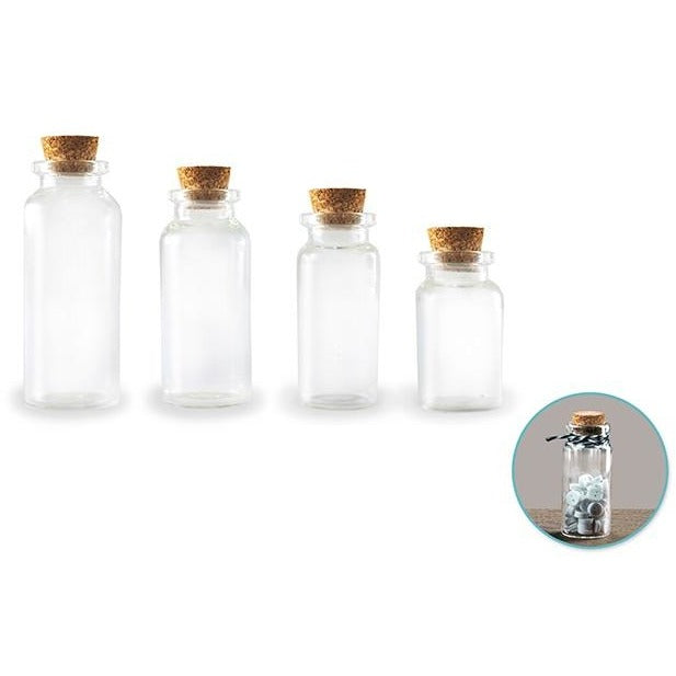 Mini Glass Containers with Cork Lids, 7ml/10ml/15ml/20ml, 4/pk