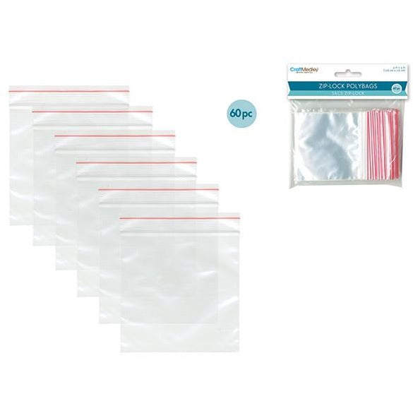 "Zip-Lock Polybags, 3""x3"", 60/pk"