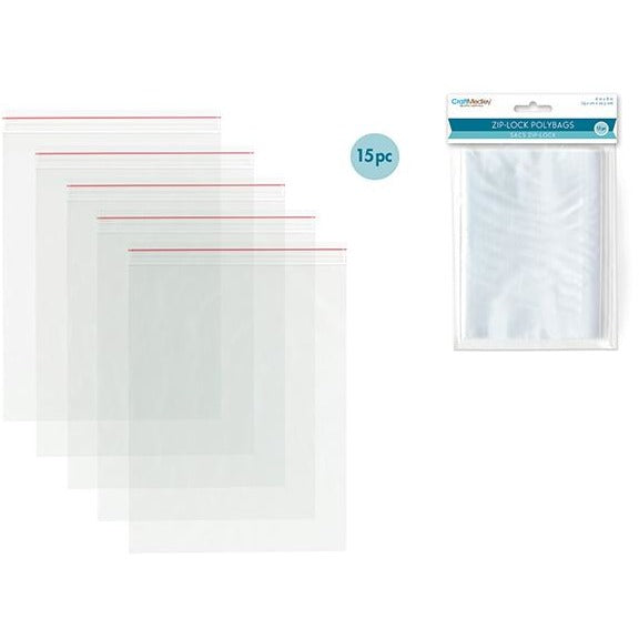 "Zip-Lock Polybags, 6""x8"", 15/pk"